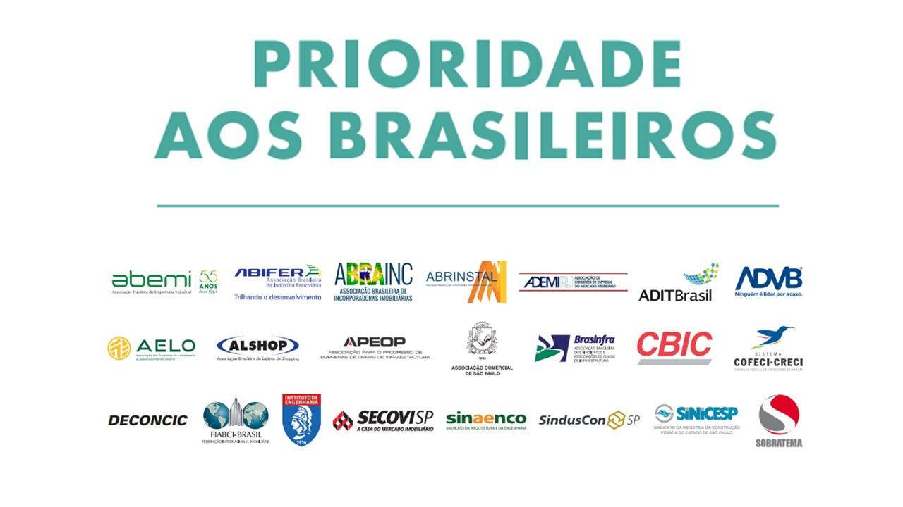 """Abrinstal apoia o manifesto """"Prioridade aos Brasileiros"""""""
